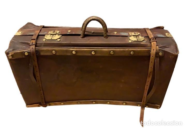 Antigüedades: maravillosa maleta antigua de cuero,Unica en todocolección, le soleil. - Foto 2 - 146983282