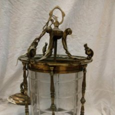 Antigüedades: FAROL TECHO BRONCE CON CRISTAL TRABAJADO. Lote 147005314
