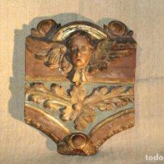 Antigüedades: RETABLO TALLA ANGEL. Lote 147017002
