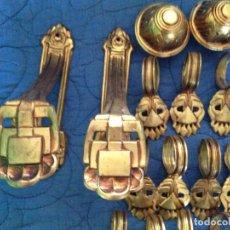 Antigüedades: CONJUNTO PARA CORTINA ANTIGUO 35 MM DE DIAMETRO. Lote 147025462