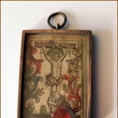 Antigüedades: RELICARIO EN PLATA DIBUJO DE CRISTO EN PAPEL S. XIX. Lote 147040446