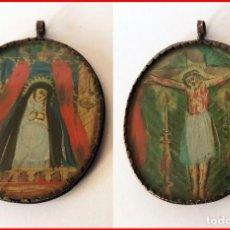 Antigüedades: RELICARIO EN PLATA S. XIX DIBUJOS DE CRISTO Y LA VIRGEN EN PAPEL S. XIX. Lote 147041110