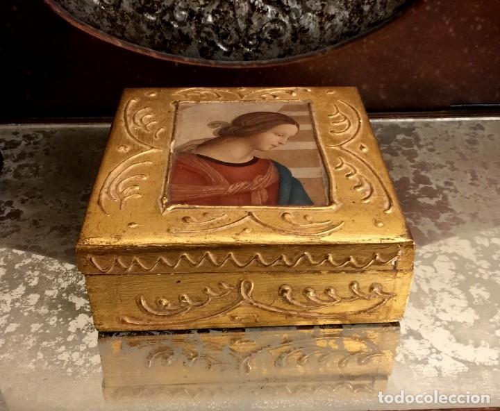 Antigüedades: ANTIGUA CAJA - JOYERO BARROCA ITALIANA MADERA Y PAN DE ORO. - Foto 2 - 147083814