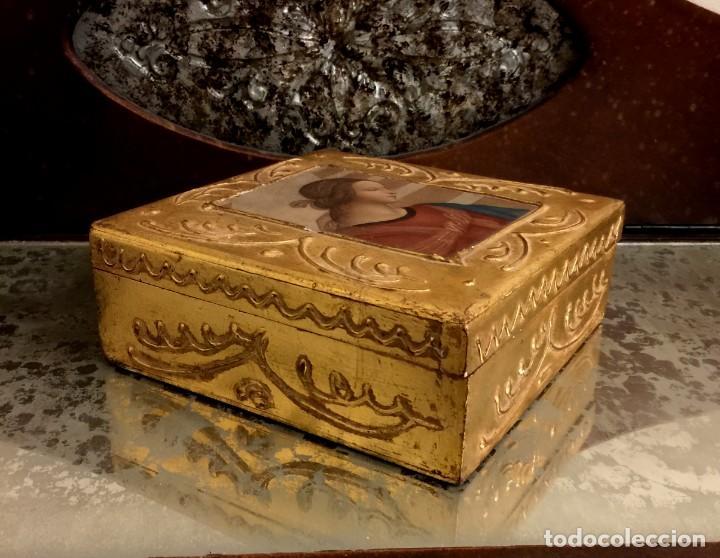 Antigüedades: ANTIGUA CAJA - JOYERO BARROCA ITALIANA MADERA Y PAN DE ORO. - Foto 3 - 147083814