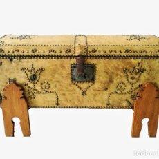 Antigüedades: ARCA-ARCÓN-BAÚL ANTIGUO DE PIEL. Lote 130047255