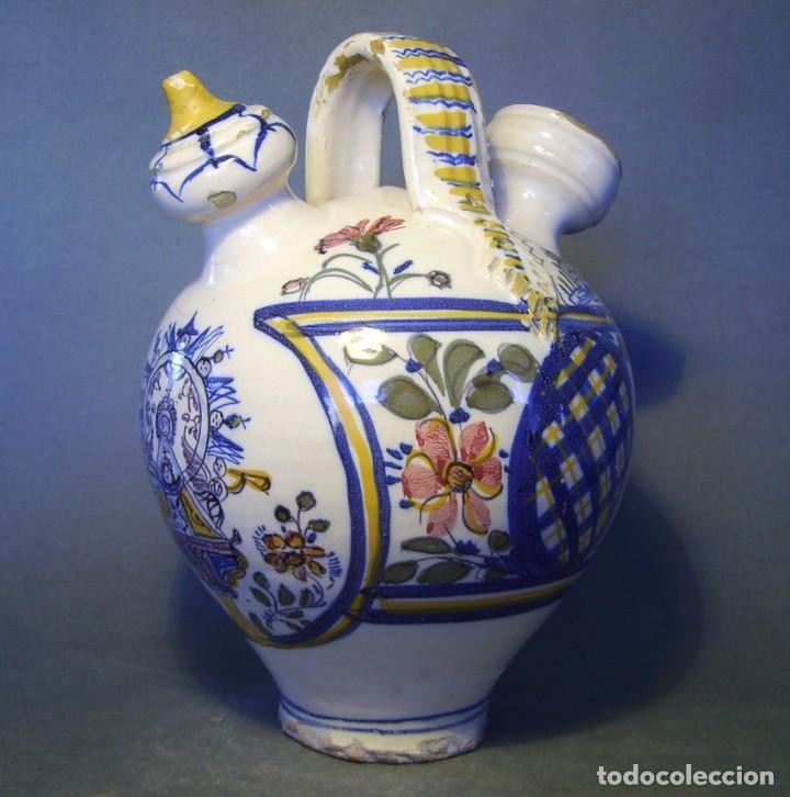 GRAN BOTIJO CERÁMICA TALAVERA XIX ( VIRGEN DEL PRADO ) (Antigüedades - Porcelanas y Cerámicas - Talavera)