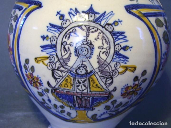 Antigüedades: GRAN BOTIJO CERÁMICA TALAVERA XIX ( VIRGEN DEL PRADO ) - Foto 8 - 147127046