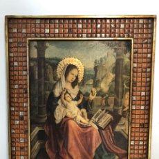 Antigüedades: CUADRO RELIGIOSO VIRGEN CON NIÑO JESUS, DECORATIVO.. Lote 147130873