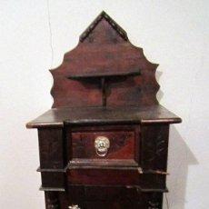 Antigüedades: MESILLA ANTIGUA CON PUERTA CAJONES Y ORIGINAL COPETE - PIEZA RARA. Lote 147212250