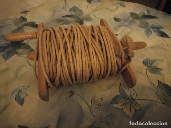 Antigüedades: Antiguo medidor de viñedos,madera y cuerda de pita. 50 m - Foto 2 - 147213438