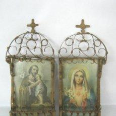 Antigüedades: ANTIGUA PAREJA DE CAPILLAS HORNACINAS DE HIERRO ARABESCOS SAN JOSE NIÑO JESUS VIRGEN MARIA. Lote 147221094