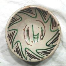 Antigüedades: PLATO CERÁMICA TERUEL S XVIII DECORACIÓN GEOMETRICA FLORAL VERDE Y MANGANESO. MED. 18 X 7 CM. Lote 147266398