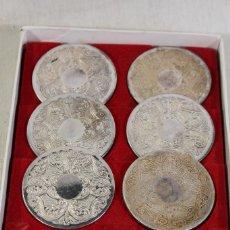 Antigüedades: 6 POSAVASOS PLATEADOS. Lote 161069990