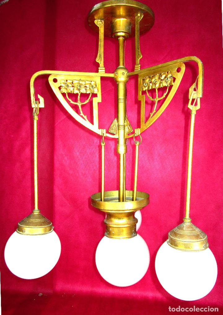 Antigüedades: FANTASTICO ESTADO! LAMPARA ANTIGUA ART DECO BRONCE AL ORO Y OPALINA ORIGINAL 1900 - Foto 8 - 147277062