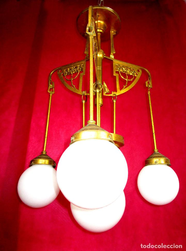 Antigüedades: FANTASTICO ESTADO! LAMPARA ANTIGUA ART DECO BRONCE AL ORO Y OPALINA ORIGINAL 1900 - Foto 10 - 147277062