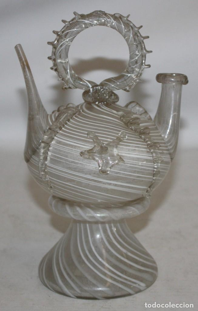 ANTIGUO BOTIJO CATALAN EN CRISTAL SOPLADO DEL SIGLO XIX (Antigüedades - Cristal y Vidrio - Catalán)