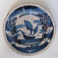 Antigüedades: PLATO CATALÁN EN AZUL 1700 - 1750. Lote 147298754