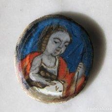 Antigüedades: SAN JUAN BAUTISTA PINTADO BAJO CRISTAL DEL SIGLO XVIII PERTENECIENTE A UN RELICARIO. Lote 147303038