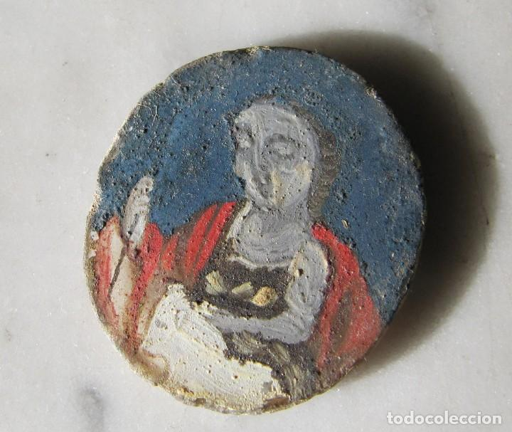 Antigüedades: San Juan Bautista pintado bajo cristal del siglo XVIII perteneciente a un relicario - Foto 3 - 147303038