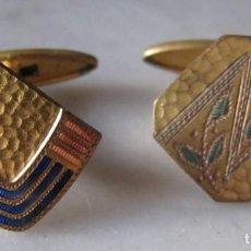 Antigüedades: GEMELOS DE METAL. MODERNISTAS. Lote 147305130