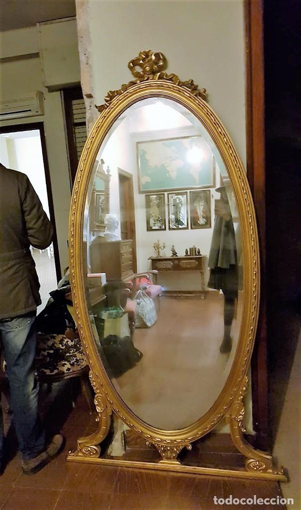 Antigüedades: Enorme espejo de madera y oro - Foto 2 - 145281066
