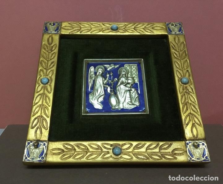 PRECIOSO ESMALTE ANUNCIACIÓN MODEST MORATO PIEZA ÚNICA SELLO DE AUTENTICIDAD (Antiquitäten - Religiöse - Antike Goldschmiedearbeiten)