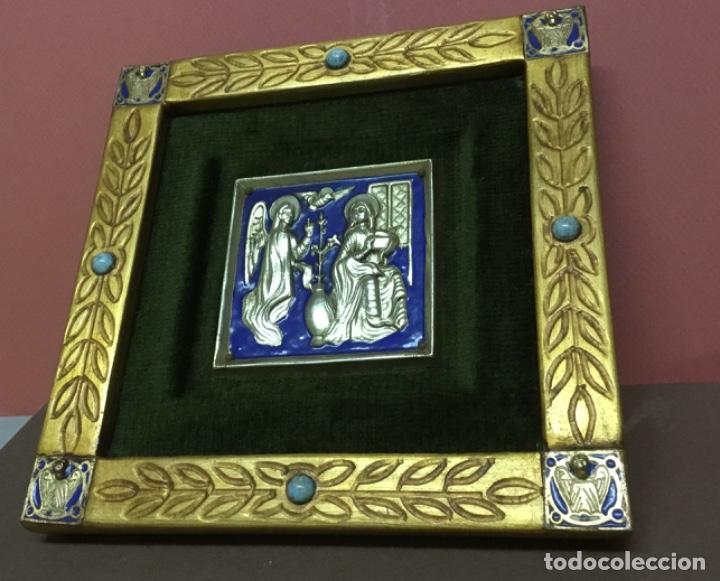 Antiquitäten: Precioso esmalte anunciación modest morato pieza única Sello de autenticidad - Foto 2 - 147341602