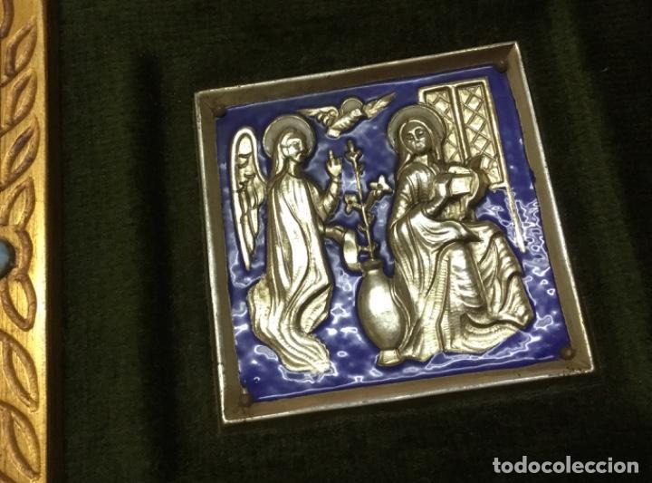Antiquitäten: Precioso esmalte anunciación modest morato pieza única Sello de autenticidad - Foto 3 - 147341602