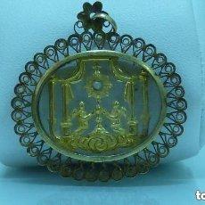 Antigüedades: BAJO DE ROSARIO DEL SIGLO XVIII CON ESCENA DE ANGELES Y PERLA EN ORO DE 750MM (18KLTS). Lote 147342906