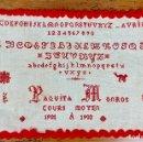 Antigüedades: ANTIGUO ABECEDARIO EN BORDADO PUNTO DE CRUZ - LABOR DE ESCUELA - 1901 1902. Lote 147355874