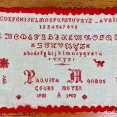 Antigüedades: ANTIGUO ABEDARIO EN BORDADO PUNTO DE CRUZ - LABOR DE ESCUELA - 1901 1902. Lote 147355874