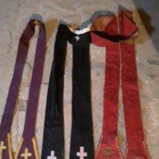 Antigüedades: 3 ESTOLAS NEGRA ROJA Y MORADA SIGLO XIX. Lote 147368476