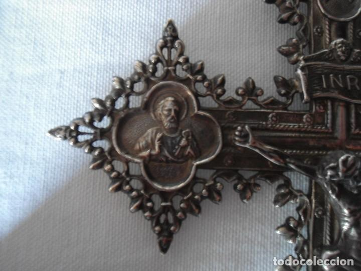 Antigüedades: BENDITERA CON CRUCIFIJO ESTILO BARROCO EN PLATA - Foto 7 - 147372314