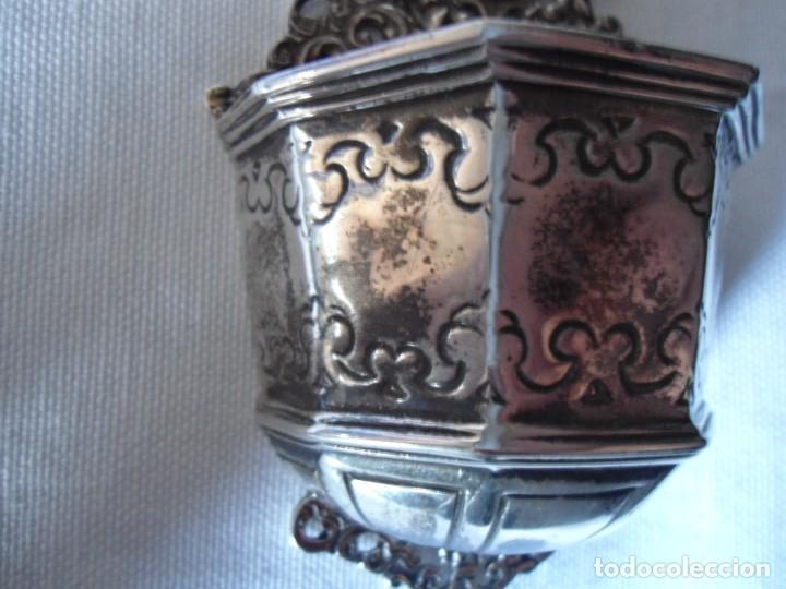 Antigüedades: BENDITERA CON CRUCIFIJO ESTILO BARROCO EN PLATA - Foto 10 - 147372314