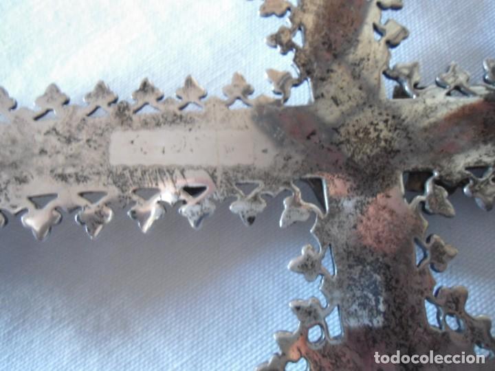 Antigüedades: BENDITERA CON CRUCIFIJO ESTILO BARROCO EN PLATA - Foto 17 - 147372314