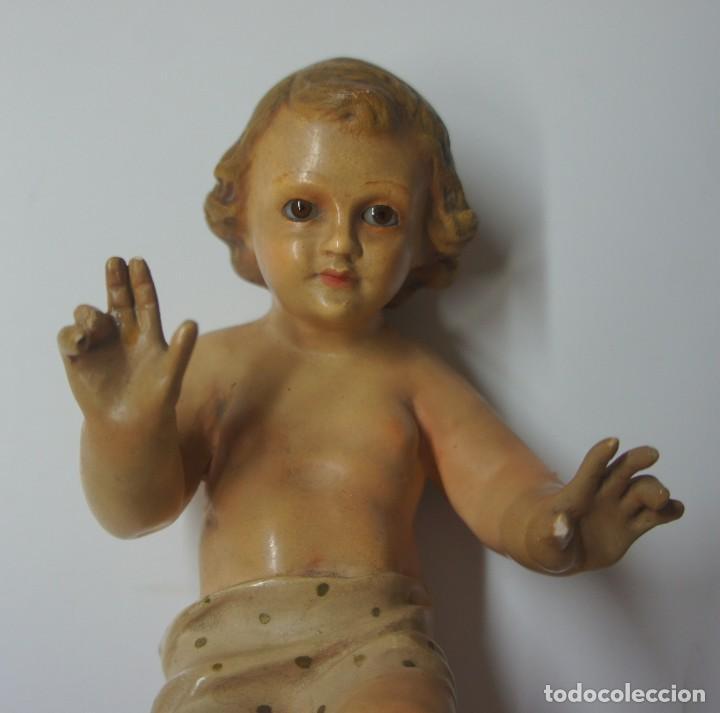 Antigüedades: NIÑO JESÚS CON LOS OJOS DE CRISTAL ,PARA REPARAR DEDOS MARCA OLDA . - Foto 2 - 147382366