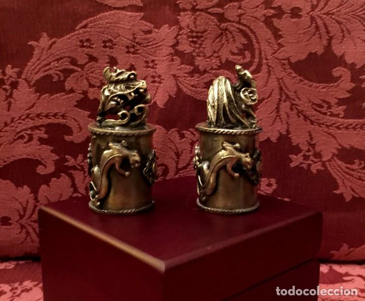 Antigüedades: PAREJA DE DRAGÓN Y AVE FÉNIX EN PLATA TIBETANA - 220 GRAMOS. - Foto 2 - 147409378