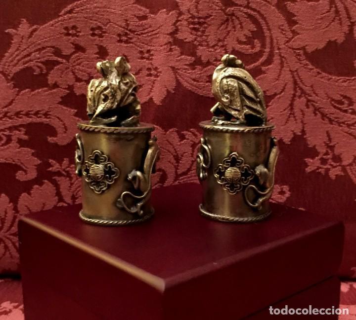 Antigüedades: PAREJA DE DRAGÓN Y AVE FÉNIX EN PLATA TIBETANA - 220 GRAMOS. - Foto 3 - 147409378
