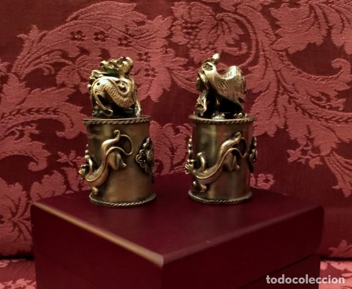 Antigüedades: PAREJA DE DRAGÓN Y AVE FÉNIX EN PLATA TIBETANA - 220 GRAMOS. - Foto 4 - 147409378
