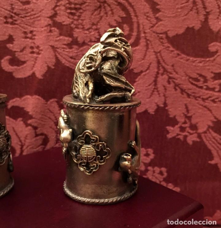 Antigüedades: PAREJA DE DRAGÓN Y AVE FÉNIX EN PLATA TIBETANA - 220 GRAMOS. - Foto 5 - 147409378