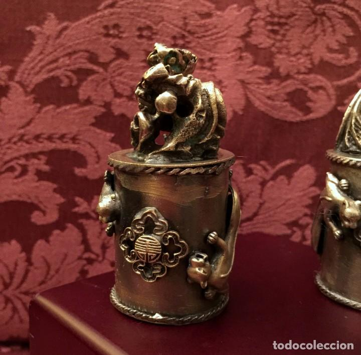 Antigüedades: PAREJA DE DRAGÓN Y AVE FÉNIX EN PLATA TIBETANA - 220 GRAMOS. - Foto 6 - 147409378