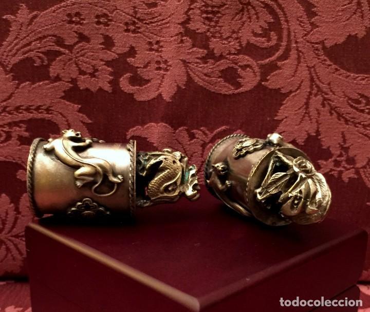 Antigüedades: PAREJA DE DRAGÓN Y AVE FÉNIX EN PLATA TIBETANA - 220 GRAMOS. - Foto 10 - 147409378