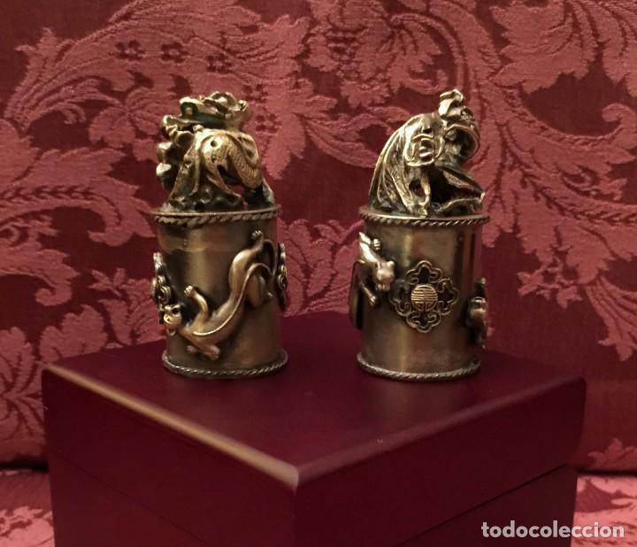 Antigüedades: PAREJA DE DRAGÓN Y AVE FÉNIX EN PLATA TIBETANA - 220 GRAMOS. - Foto 11 - 147409378