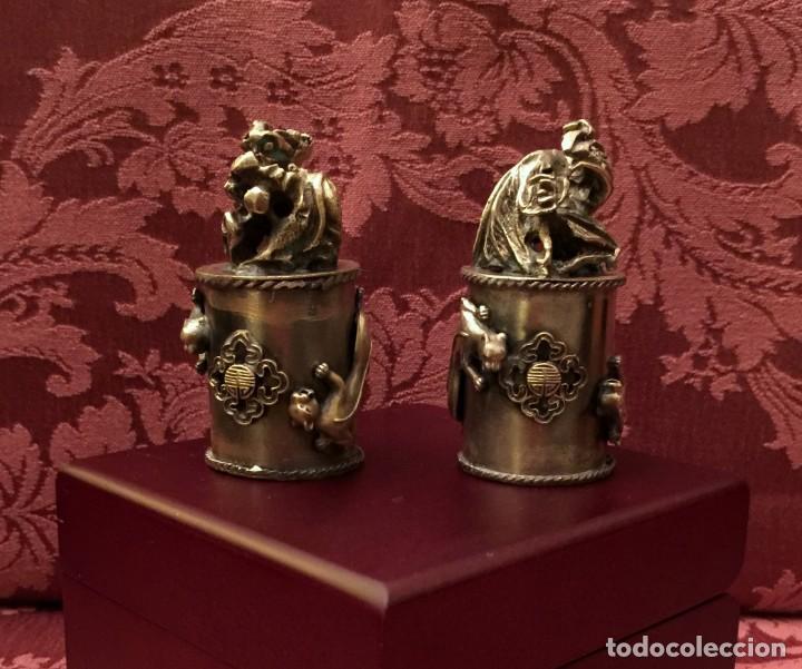 Antigüedades: PAREJA DE DRAGÓN Y AVE FÉNIX EN PLATA TIBETANA - 220 GRAMOS. - Foto 12 - 147409378