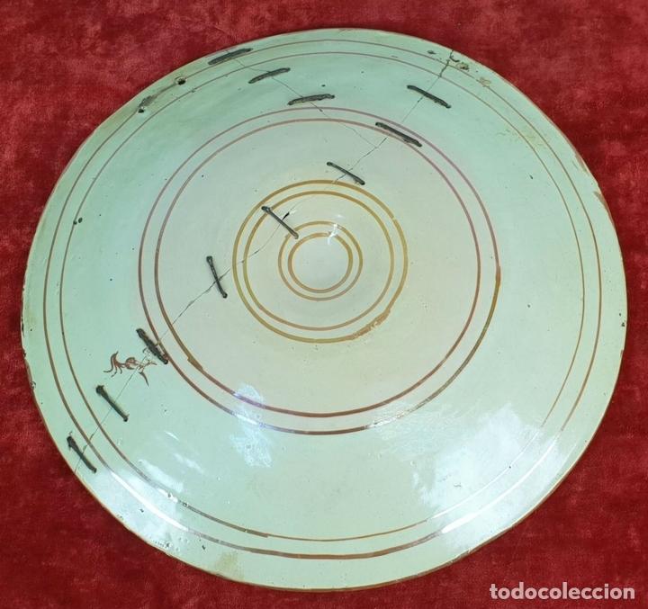 Antigüedades: PLATO DE TETÓN. CERÁMICA ESMALTADA CON REFLEJOS. MANISES. SIGLO XIX. - Foto 2 - 147424634