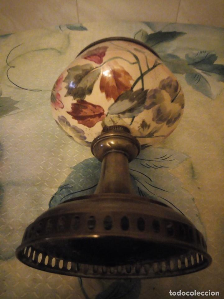Antigüedades: Antigua copa de cerámica con latón pintada a mano. - Foto 4 - 147441070
