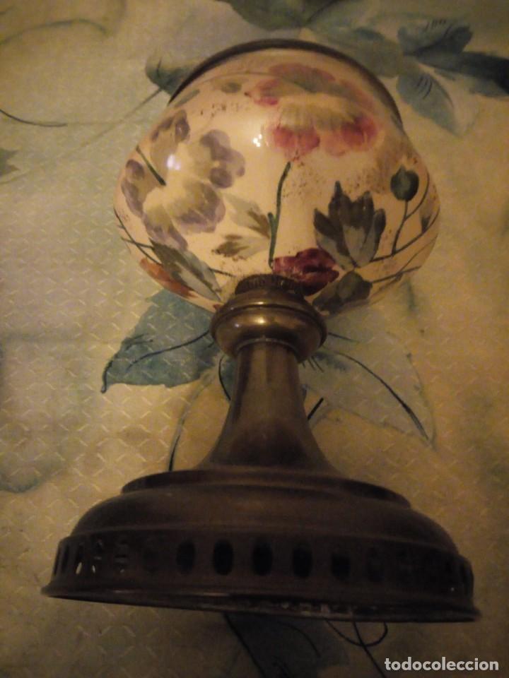 Antigüedades: Antigua copa de cerámica con latón pintada a mano. - Foto 5 - 147441070