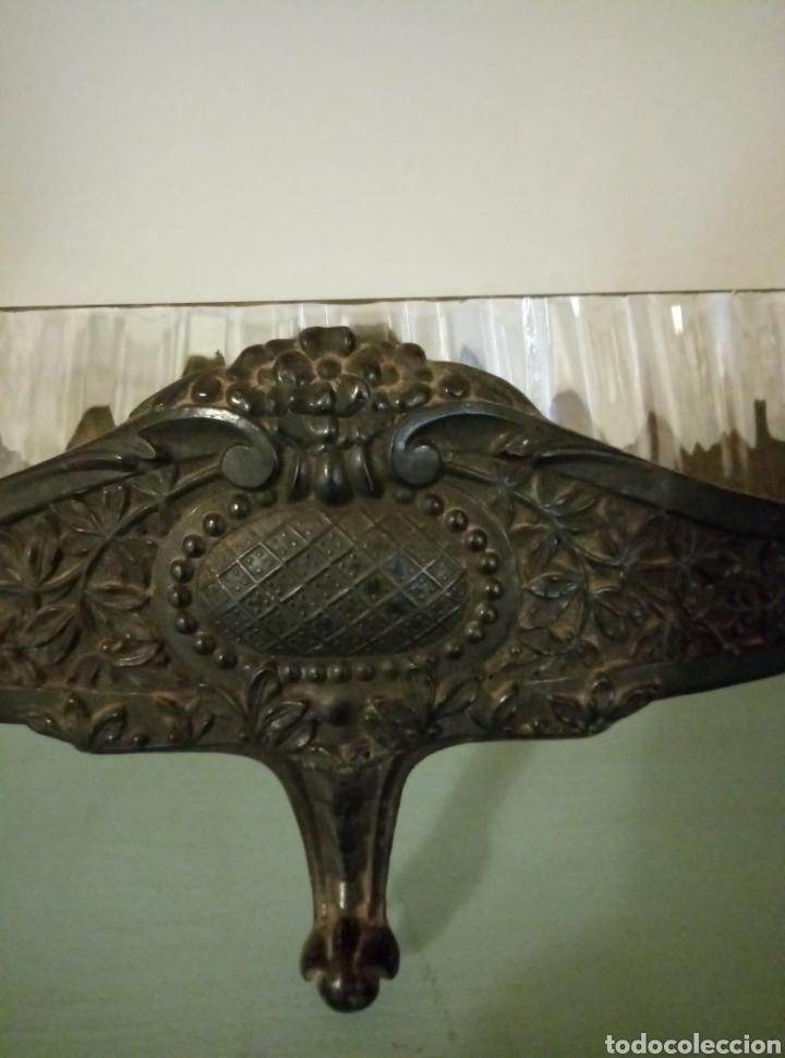 Antigüedades: Centro de mesa cristal y metal modernista art deco - Foto 2 - 147445516
