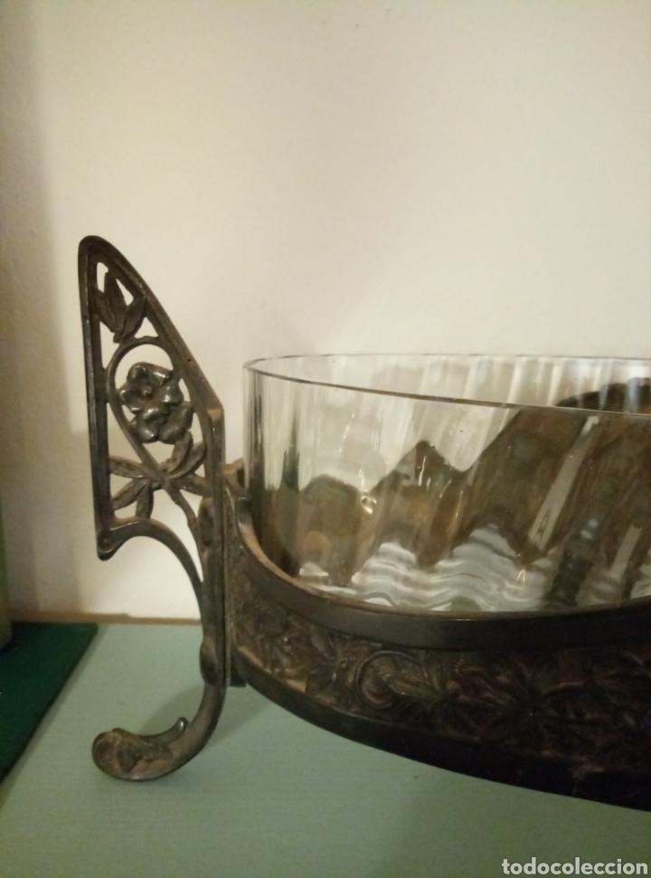 Antigüedades: Centro de mesa cristal y metal modernista art deco - Foto 3 - 147445516