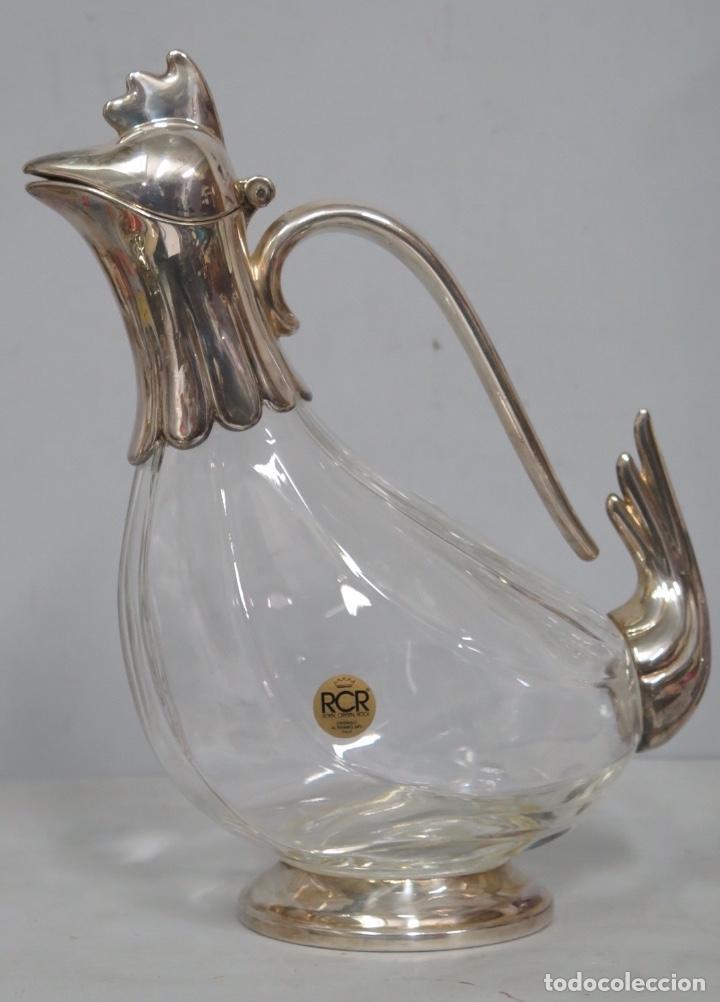 LICORERA DE CRISTAL DE ROCA Y METAL PLATEADO. SIGLO XX (Antigüedades - Cristal y Vidrio - Italiano)
